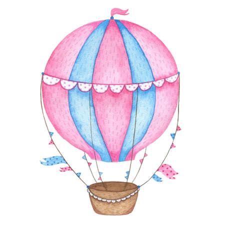 Waterverfhand geschilderde hete die luchtballon op witte achtergrond wordt geïsoleerd. Uitstekende luchtballon die van het jonge geitjesbeeldverhaal in hemelillustratie vliegen