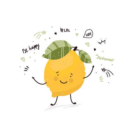 Niedlicher Cartoon-Gekritzel-Skizzenillustrations-Sommerkarten-Druck-T-Shirt-Design-Hand gezeichneter Vektor der Zitronenfrucht in der modernen flachen Art
