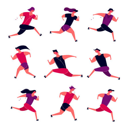 Running people group in motion. Jogging men women training outdoor. Runners prepare for sport competition marathon health running in morning. Vector illustration in cartoon style