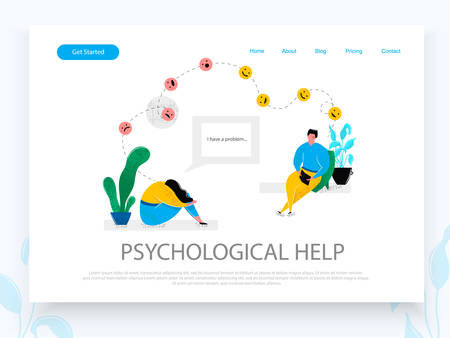 Psychologist consulting patient depressed girl sitting in sad pose. Mental health problems psychology help for people with depression stress concept. Landing page design template