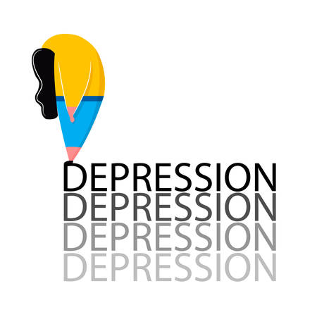 Depressed girl in pose standing on word depression. Mental health problems and treatment of psychological help for sad woman. Vector illustration in cartoon style