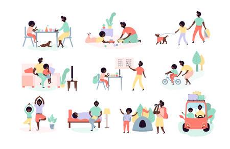 Padre e hijo de afroamericanos solteros que pasan tiempo juntos comiendo, jugando, caminando con el perro, yendo en auto de campamento, viendo televisión, haciendo lecciones escolares, yoga, andar en bicicleta, leer un libro