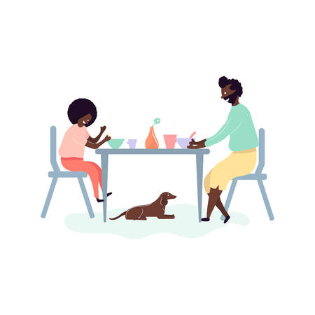 Single african american father and son spending time together - eating breakfast at table in kitchen at home with dog. Vector illustration in flat cartoon style Illustration