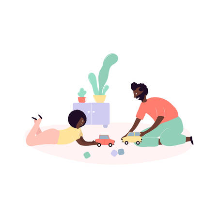 Single african american father and son spending time together - playing toys cars in room at home. Vector illustration in flat cartoon style Vectores