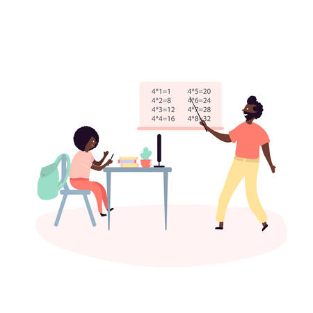 Padre single afroamericano e figlio che trascorrono del tempo insieme - facendo lezioni di scuola, papà che insegna la tavola pitagorica in camera a casa. Illustrazione vettoriale in stile cartone animato piatto