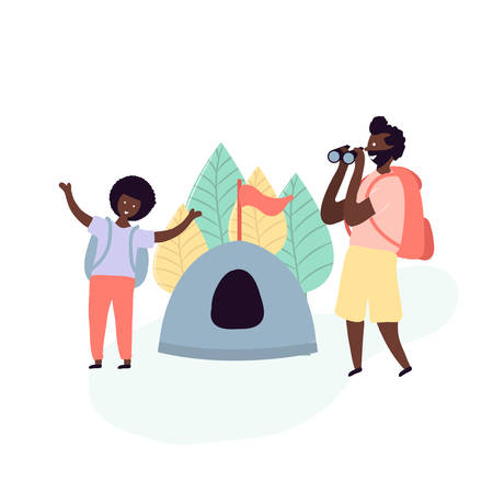Single african american father and son spending time together - resting on camping in forest with tent and binoculars in hand with backpacks on back. Vector illustration in flat cartoon style Ilustrace