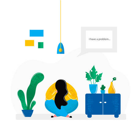 Depressed girl sitting on floor in room at home. Mental health problems of sad woman and treatment of depression psychological help. Vector illustration in flat cartoon style
