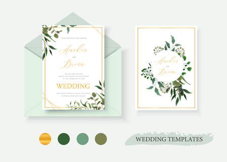 El sobre de la tarjeta de invitación de oro floral de la boda guarda el diseño de la fecha con la corona y el marco de eucalipto de hierbas de hojas tropicales verdes. Estilo de acuarela de plantilla de vector decorativo elegante botánico
