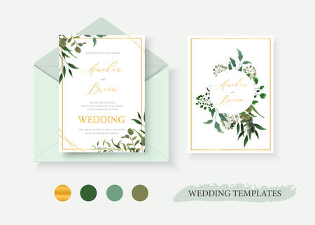 Wedding floral gold invitation card envelope save the date design with green tropical leaf herbs eucalyptus wreath and frame. Botanical elegant decorative vector template watercolor style Ilustração