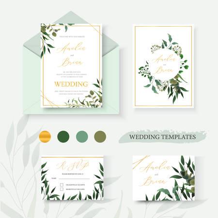 Bruiloft bloemen gouden uitnodigingskaart envelop bewaar de datum rsvp ontwerp met groene tropische blad kruiden eucalyptus krans en frame. Botanische elegante decoratieve vector sjabloon aquarel stijl Vector Illustratie