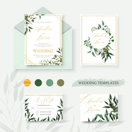 Wedding floral gold invitation card envelope save the date rsvp design with green tropical leaf herbs eucalyptus wreath and frame. Botanical elegant decorative vector template watercolor style Ilustração