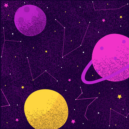 Cosmos space galaxy planets and stars milky way constellations of universe background. Vector illustration in cartoon flat style