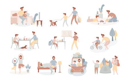 Padre e hijo europeos solteros que pasan tiempo juntos comiendo, jugando, paseando con el perro, yendo de viaje en coche a acampar, viendo la televisión haciendo clases de yoga, montando en bicicleta, leyendo un libro. Estilo plano vectorial Ilustración de vector
