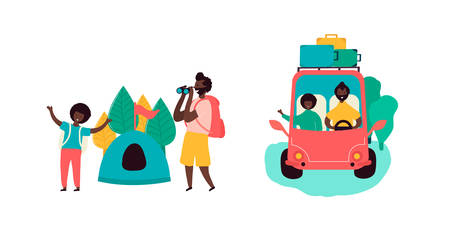 Single black father and son african americans spending time together going on trip camping on car resting on camping in forest with tent and binoculars. Vector illustration in flat cartoon style