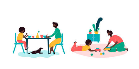 Single black father and son african americans spending time together - eating breakfast at table in kitchen at home with dog, playing toys cars. Vector illustration in flat cartoon style
