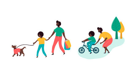 Single black father and son african americans spending time together walking outdoors on street park with dog teaching kid riding bike outdoor activity. Vector illustration in flat cartoon style Illustration