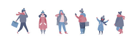 People in warm winter clothes walking on street, going to work, talking on phone. Women men children in outerwear performing outdoor activities. Vector illustration in flat style Ilustração
