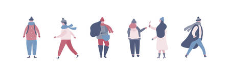 People in warm winter clothes walking on street, going to work. Women men in outerwear performing outdoor activities. Vector illustration in flat style