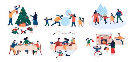Sammlung der Familie, die Weihnachtsferienhaus im Freien Aktivität verziert, die Neujahrsbaum verziert, Geschenke gibt, Eislaufen, Schneemann baut, am Kamin sitzt. Flache Art der Vektorillustrationskarikatur