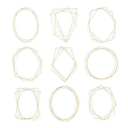 Gold geometrical round oval frame isolated on white background. Illustration for cards, wedding invitations