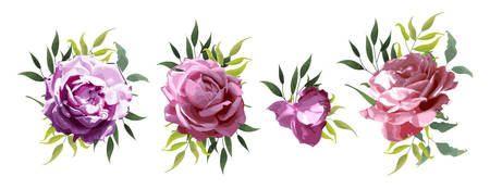 Rose flowers with green leaves floral wedding bouquets peach pink isolated on white background. Vector illustration in watercolor style for card, invitation Иллюстрация