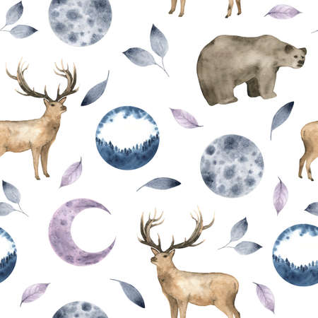Seamless pattern with watercolor forest animals deer bear and moon with leaves on white background. Fauna flora nature illustration Reklamní fotografie