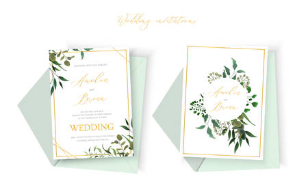 Wedding floral golden invitation card envelope save the date design with green tropical leaf herbs eucalyptus wreath and frame. Botanical elegant decorative vector template watercolor style Иллюстрация