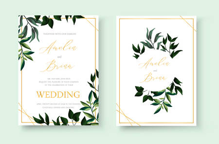 Wedding floral golden invitation card save the date design with green tropical leaf herbs wreath and frame. Botanical elegant decorative vector template watercolor style