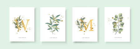 Wedding floral golden invitation card envelope save the date minimalism design with green tropical leaf herbs and gold splatters. Botanical elegant decorative vector template watercolor style