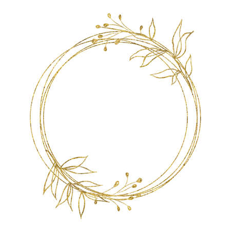 Gold geometrical round oval frame with flower leaves isolated on white background. Illustration for cards, wedding invitations Foto de archivo