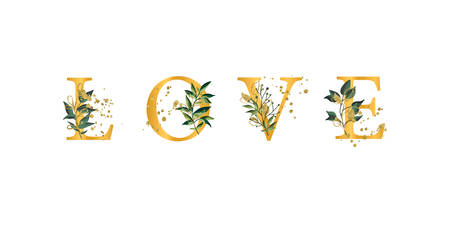 Golden floral phrase quote Love font uppercase letters with flowers leaves and gold splatters isolated on white background. Vector illustration for wedding, greeting cards, invitations template design