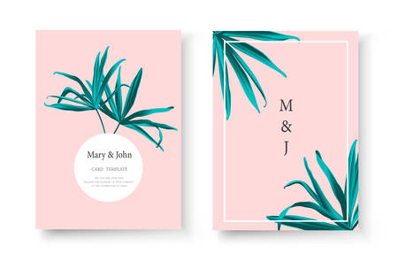 Wedding tropical invitation card save the date design with green fan palm leaf. Botanical elegant decorative floral vector illustration template in trendy style