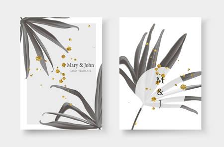 Wedding gold black white monochrome tropical invitation card save the date design with fan palm leaf and golden splatters. Botanical elegant decorative floral vector illustration template trendy style Иллюстрация