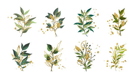 Gold green tropical leaves wedding bouquet with golden splatters isolated on white background. Floral vector illustration arrangement in watercolor style. Botanical art design Иллюстрация