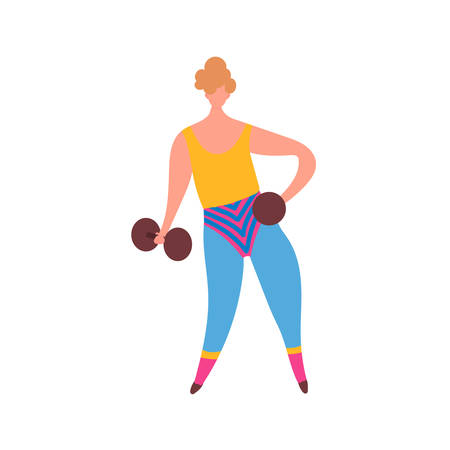 80s years woman girl in aerobics outfit doing workout shaping with dumbbells in hand isolated on white background. Trendy 80-s years retro sport clothing. Vector illustration in cartoon style Stock Vector - 125848900
