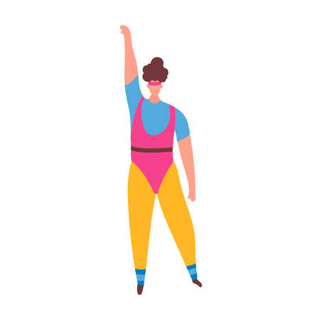 Chica de mujer de 80 años en traje de aeróbic haciendo entrenamiento formando aislado sobre fondo blanco. Ropa deportiva retro de moda de los años 80. Ilustración vectorial en estilo de dibujos animados Ilustración de vector