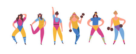 Set of 80s years woman girl in aerobics outfit doing workout shaping with dumbbells in hand isolated on white background. Trendy 80-s years retro sport clothing. Vector illustration in cartoon style
