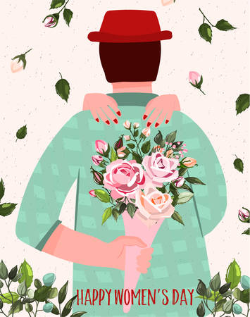 International Womens Day. Spring holiday Happy Womens day 8 march. Cute card, poster with man holding bouquet of flowers roses behind back. Vector illustration template