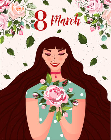 International Womens Day. Spring holiday Happy Womens day 8 march. Cute greeting card, poster with woman and bouquet of flowers roses. Vector illustration template