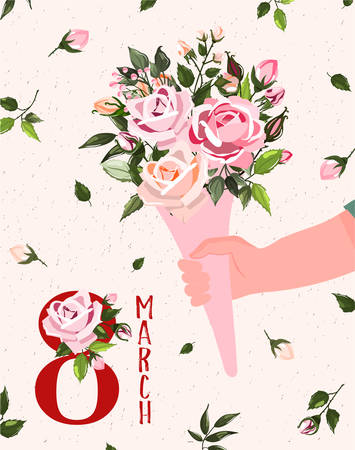International Womens Day. Spring holiday Happy Womens day 8 march. Cute card, poster with man hand holding bouquet of flowers roses. Vector illustration template