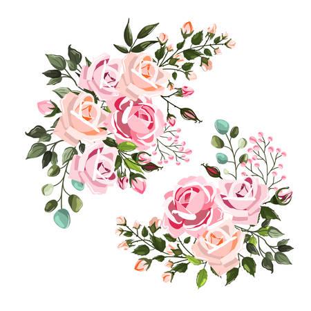 Set von blassrosa Rose Hochzeit Blumensträuße Arrangements mit grünen Blättern. Blumenzweig für Hochzeitseinladung speichern das Datum oder das Grußkartendesign. Vektorillustration im Aquarellstil