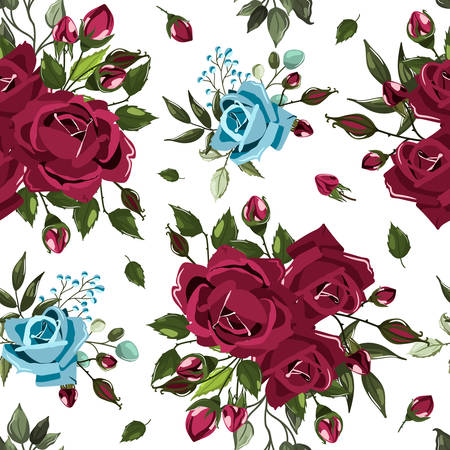 Seamless floral pattern with bordo burgundy navy blue rose flowers bouquets and green leaves on white background. Maroon floral branch, arrangements for textile, fabric. Vector illustration