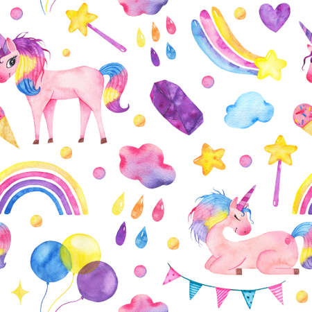 Watercolor seamless pattern with cute unicorn, magic wand, rainbow, balloons clouds isolated on white background. Happy birthday children decoration printable nursery for kid textile illustration