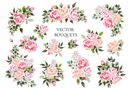 Set of bouquets pale pink and peachy flower roses with green leaves. Floral branch flowers arrangements for wedding invitation save the date or greeting card design. Vector illustration Иллюстрация