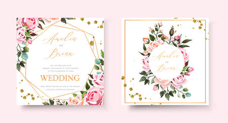 Wedding floral golden invitation card save the date design with pink flowers roses green leaves geometrical frame gold splatters . Botanical elegant decorative vector template in watercolor style Иллюстрация