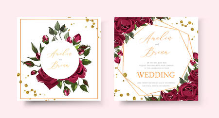 Wedding floral golden invitation card save the date design with bordo navy blue flowers roses green leaves geometrical frame gold splatters. Botanical elegant vector template in watercolor style Иллюстрация