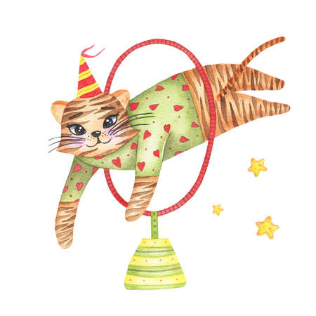 Watercolor circus animal cute tiger jumping through circle isolated on white background. Happy birthday party, festive carnival decoration printable nursery for kid textile illustration