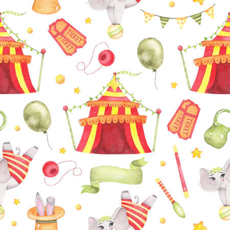 Watercolor circus animal seamless pattern with circus tent, acrobatic elephant on ball, tickets, clown nose , balloon flags isolated. Happy birthday festive carnival decoration illustration