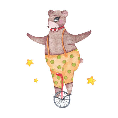 Watercolor circus animal cute bear riding unicycle isolated on white background. Happy birthday party, festive carnival decoration printable nursery for kid textile illustration Фото со стока