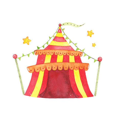 Watercolor red yellow circus tent isolated on white background. Happy birthday party, festive carnival decoration printable nursery for kid textile illustration